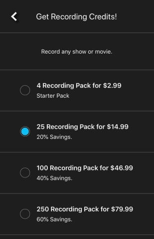 Recording Credit Packs 17/8/19 in US Dollars